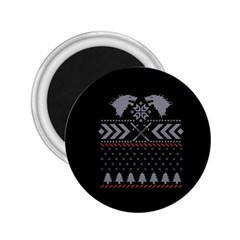 Winter Is Coming Game Of Thrones Ugly Christmas Black Background 2 25  Magnets by Onesevenart