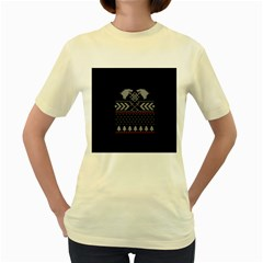 Winter Is Coming Game Of Thrones Ugly Christmas Black Background Women s Yellow T Shirt by Onesevenart