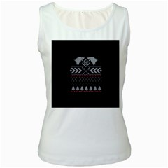 Winter Is Coming Game Of Thrones Ugly Christmas Black Background Women s White Tank Top by Onesevenart