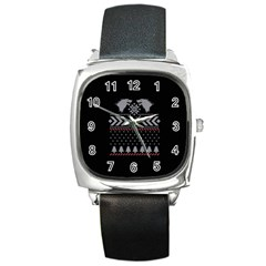 Winter Is Coming Game Of Thrones Ugly Christmas Black Background Square Metal Watch by Onesevenart