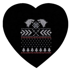 Winter Is Coming Game Of Thrones Ugly Christmas Black Background Jigsaw Puzzle (heart) by Onesevenart
