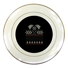 Winter Is Coming Game Of Thrones Ugly Christmas Black Background Porcelain Plates by Onesevenart
