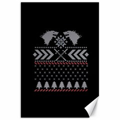 Winter Is Coming Game Of Thrones Ugly Christmas Black Background Canvas 20  X 30   by Onesevenart