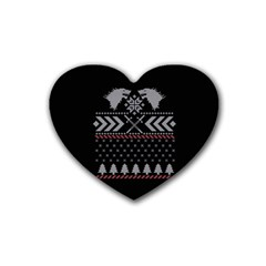Winter Is Coming Game Of Thrones Ugly Christmas Black Background Heart Coaster (4 Pack)  by Onesevenart