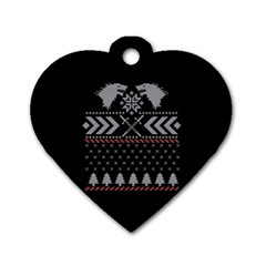 Winter Is Coming Game Of Thrones Ugly Christmas Black Background Dog Tag Heart (two Sides) by Onesevenart