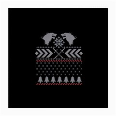 Winter Is Coming Game Of Thrones Ugly Christmas Black Background Medium Glasses Cloth by Onesevenart