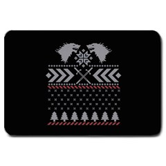 Winter Is Coming Game Of Thrones Ugly Christmas Black Background Large Doormat  by Onesevenart