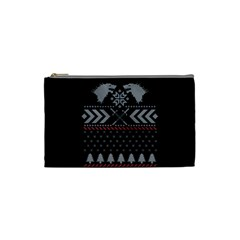 Winter Is Coming Game Of Thrones Ugly Christmas Black Background Cosmetic Bag (small)  by Onesevenart