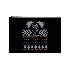 Winter Is Coming Game Of Thrones Ugly Christmas Black Background Cosmetic Bag (large)  by Onesevenart