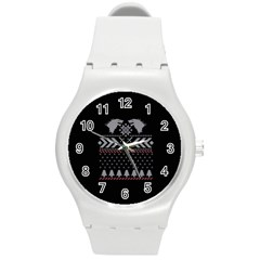 Winter Is Coming Game Of Thrones Ugly Christmas Black Background Round Plastic Sport Watch (m) by Onesevenart