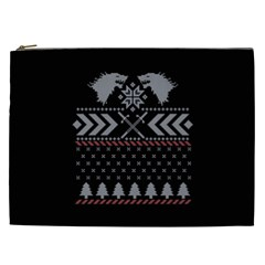 Winter Is Coming Game Of Thrones Ugly Christmas Black Background Cosmetic Bag (xxl)  by Onesevenart