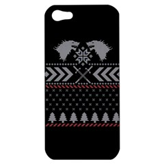 Winter Is Coming Game Of Thrones Ugly Christmas Black Background Apple Iphone 5 Hardshell Case by Onesevenart