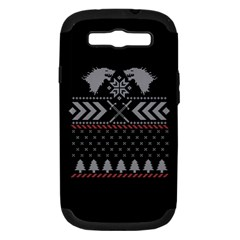 Winter Is Coming Game Of Thrones Ugly Christmas Black Background Samsung Galaxy S Iii Hardshell Case (pc+silicone) by Onesevenart