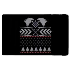Winter Is Coming Game Of Thrones Ugly Christmas Black Background Apple Ipad 2 Flip Case by Onesevenart