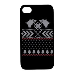 Winter Is Coming Game Of Thrones Ugly Christmas Black Background Apple Iphone 4/4s Hardshell Case With Stand by Onesevenart