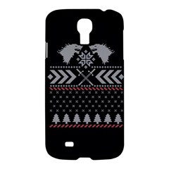 Winter Is Coming Game Of Thrones Ugly Christmas Black Background Samsung Galaxy S4 I9500/i9505 Hardshell Case by Onesevenart