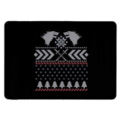 Winter Is Coming Game Of Thrones Ugly Christmas Black Background Samsung Galaxy Tab 8 9  P7300 Flip Case by Onesevenart