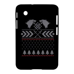 Winter Is Coming Game Of Thrones Ugly Christmas Black Background Samsung Galaxy Tab 2 (7 ) P3100 Hardshell Case  by Onesevenart