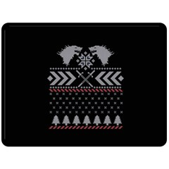 Winter Is Coming Game Of Thrones Ugly Christmas Black Background Double Sided Fleece Blanket (large)  by Onesevenart