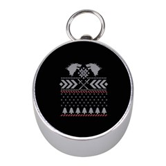 Winter Is Coming Game Of Thrones Ugly Christmas Black Background Mini Silver Compasses by Onesevenart