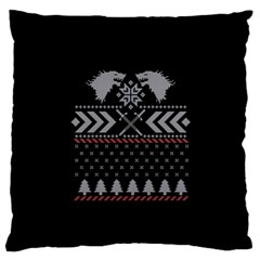 Winter Is Coming Game Of Thrones Ugly Christmas Black Background Large Flano Cushion Case (two Sides) by Onesevenart