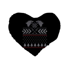 Winter Is Coming Game Of Thrones Ugly Christmas Black Background Standard 16  Premium Flano Heart Shape Cushions by Onesevenart