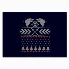 Winter Is Coming Game Of Thrones Ugly Christmas Blue Background Large Glasses Cloth (2 Side) by Onesevenart