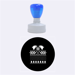Winter Is Coming Game Of Thrones Ugly Christmas Blue Background Rubber Round Stamps (medium) by Onesevenart