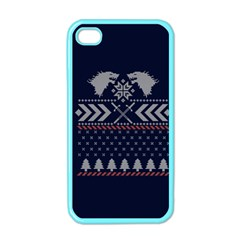 Winter Is Coming Game Of Thrones Ugly Christmas Blue Background Apple Iphone 4 Case (color) by Onesevenart