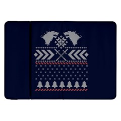 Winter Is Coming Game Of Thrones Ugly Christmas Blue Background Samsung Galaxy Tab 8 9  P7300 Flip Case by Onesevenart