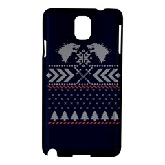 Winter Is Coming Game Of Thrones Ugly Christmas Blue Background Samsung Galaxy Note 3 N9005 Hardshell Case by Onesevenart