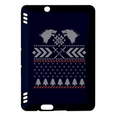 Winter Is Coming Game Of Thrones Ugly Christmas Blue Background Kindle Fire Hdx Hardshell Case by Onesevenart