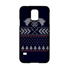 Winter Is Coming Game Of Thrones Ugly Christmas Blue Background Samsung Galaxy S5 Hardshell Case  by Onesevenart