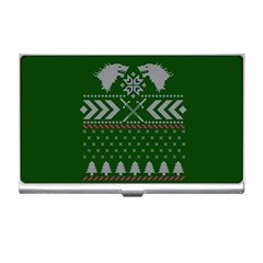 Winter Is Coming Game Of Thrones Ugly Christmas Green Background Business Card Holders by Onesevenart
