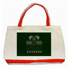 Winter Is Coming Game Of Thrones Ugly Christmas Green Background Classic Tote Bag (red) by Onesevenart