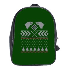 Winter Is Coming Game Of Thrones Ugly Christmas Green Background School Bags(large)  by Onesevenart