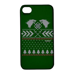 Winter Is Coming Game Of Thrones Ugly Christmas Green Background Apple Iphone 4/4s Hardshell Case With Stand by Onesevenart