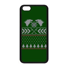 Winter Is Coming Game Of Thrones Ugly Christmas Green Background Apple Iphone 5c Seamless Case (black) by Onesevenart