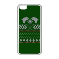 Winter Is Coming Game Of Thrones Ugly Christmas Green Background Apple Iphone 5c Seamless Case (white) by Onesevenart
