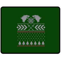 Winter Is Coming Game Of Thrones Ugly Christmas Green Background Double Sided Fleece Blanket (medium)  by Onesevenart