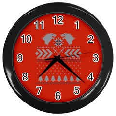 Winter Is Coming Game Of Thrones Ugly Christmas Red Background Wall Clocks (black) by Onesevenart