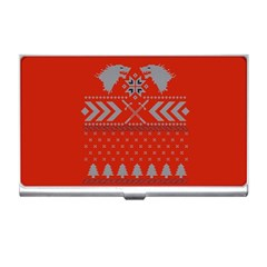 Winter Is Coming Game Of Thrones Ugly Christmas Red Background Business Card Holders by Onesevenart