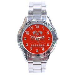Winter Is Coming Game Of Thrones Ugly Christmas Red Background Stainless Steel Analogue Watch by Onesevenart