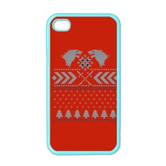 Winter Is Coming Game Of Thrones Ugly Christmas Red Background Apple Iphone 4 Case (color) by Onesevenart