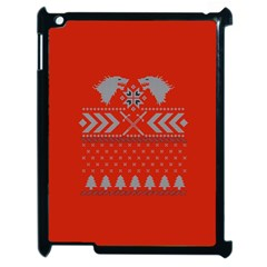Winter Is Coming Game Of Thrones Ugly Christmas Red Background Apple Ipad 2 Case (black) by Onesevenart