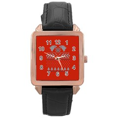 Winter Is Coming Game Of Thrones Ugly Christmas Red Background Rose Gold Leather Watch  by Onesevenart