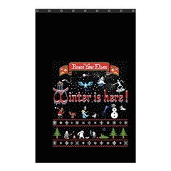 Winter Is Here Ugly Holiday Christmas Black Background Shower Curtain 48  X 72  (small)  by Onesevenart