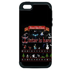 Winter Is Here Ugly Holiday Christmas Black Background Apple Iphone 5 Hardshell Case (pc+silicone) by Onesevenart