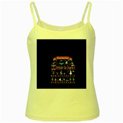 Winter Is Here Ugly Holiday Christmas Blue Background Yellow Spaghetti Tank by Onesevenart