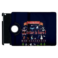 Winter Is Here Ugly Holiday Christmas Blue Background Apple Ipad 2 Flip 360 Case by Onesevenart